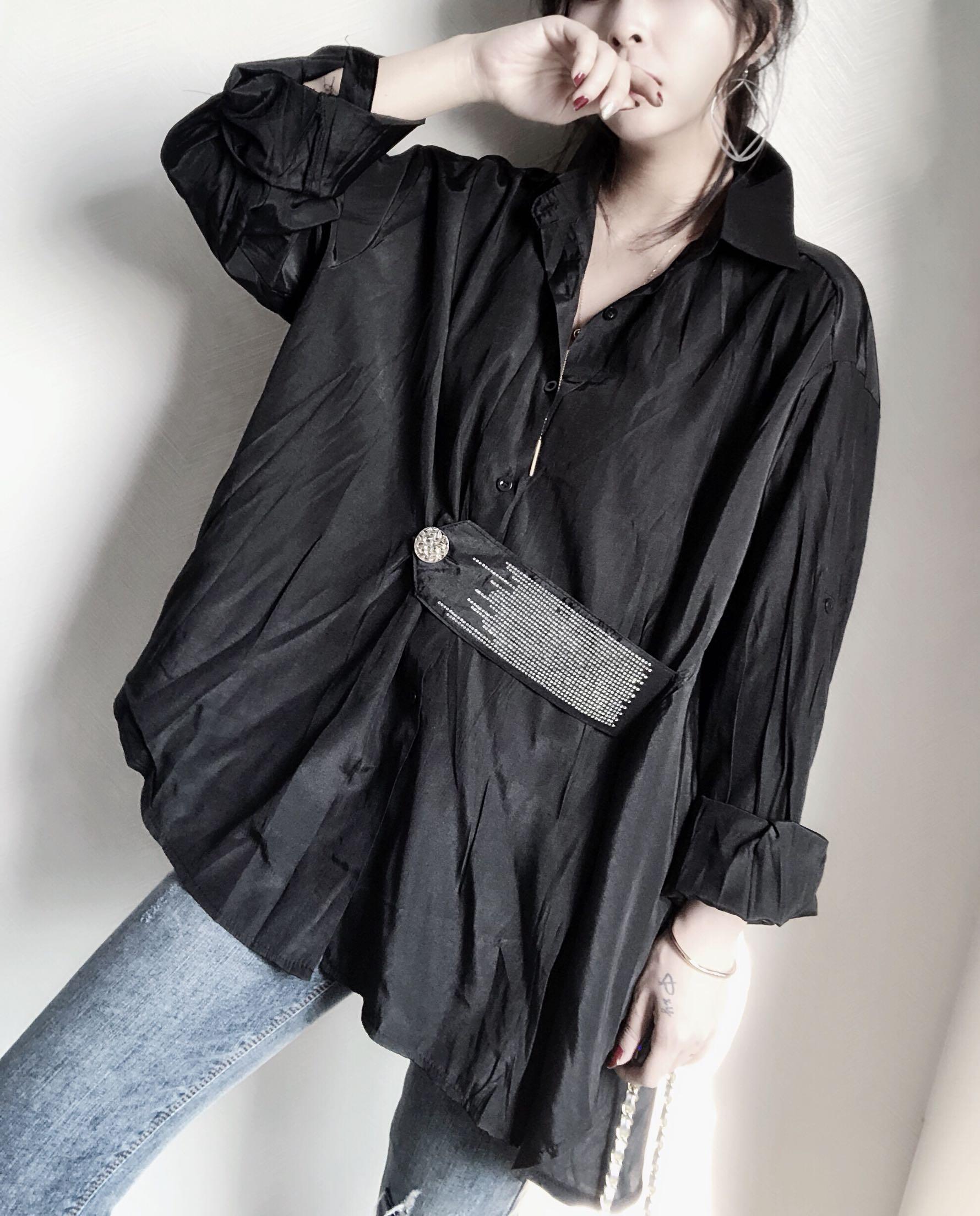 欧洲站2019春季新款韩版长袖衬衫女宽松时尚显瘦大扣子设计衬衫潮