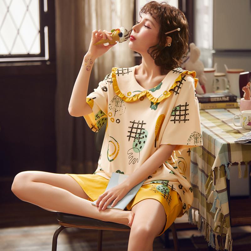睡衣女士夏季薄款短袖纯棉卡通可爱家居服日系时尚春秋冬两件套装