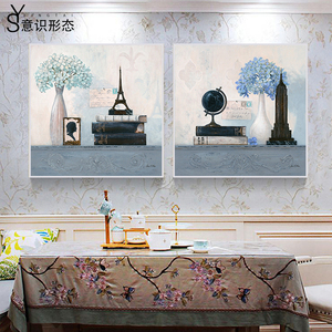 European style hanging painting decorative painting living room modern minimalist bedroom study hanging painting simple European mural with frame home accessories