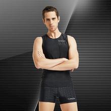 泳劲 男士鲨鱼皮背心ag7保暖遮盖8g 男式泳衣 背心平角裤套装