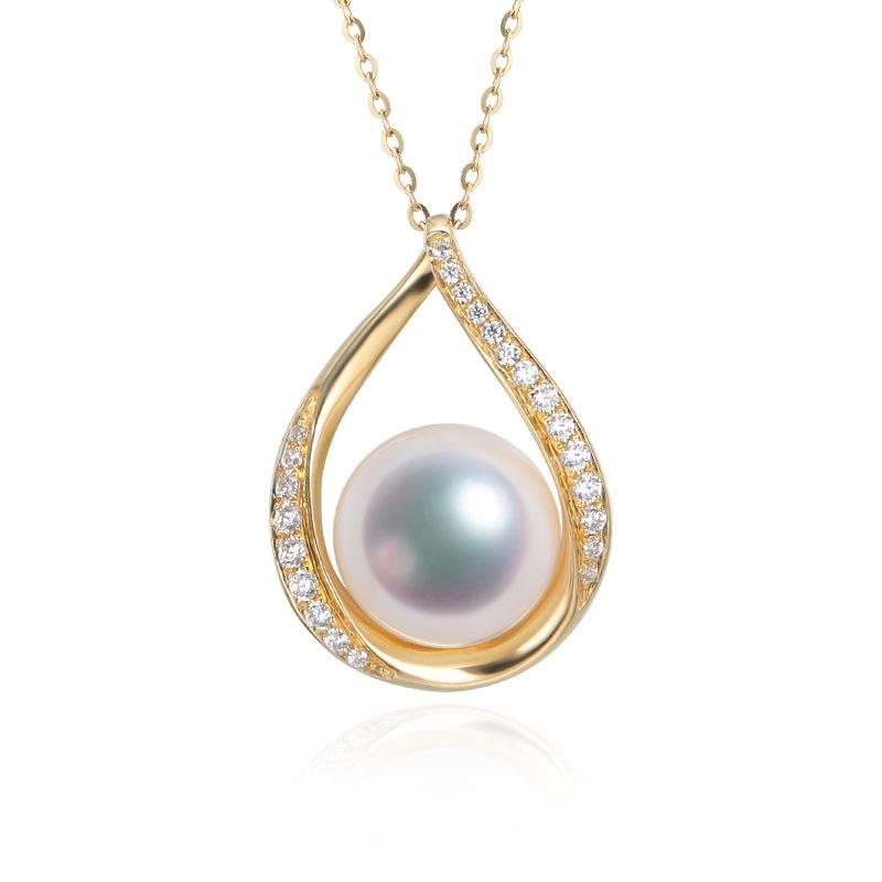 海耀珠宝正品 简约akoya天然海水珍珠吊坠18k金托厚金镶嵌钻石