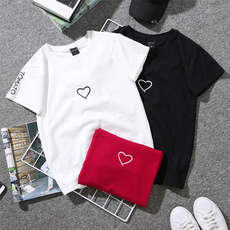 实拍8049#180克牛奶丝情侣装夏新款上衣韩版宽松爱心刺绣短袖T恤 -