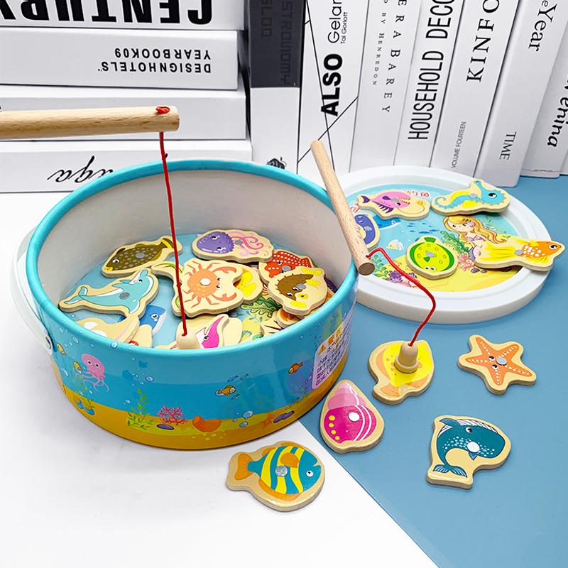 木质磁性小猫钓鱼池套装1-2-3玩具