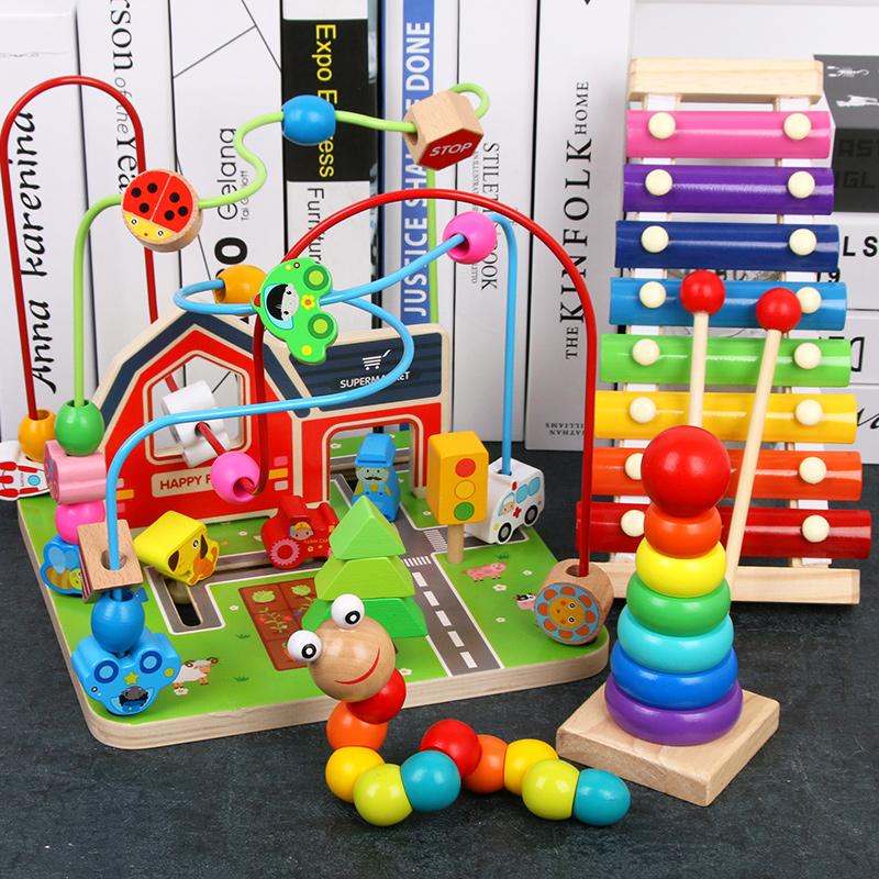 绕珠串珠婴幼儿童益智积木玩具 0-1-2-3周岁6-12个月一岁宝宝早教