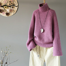 文艺范宽松慵懒风高xb6加厚打底-w季新式纯色套头针织衫上衣