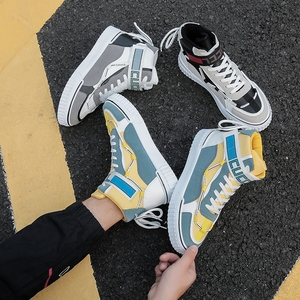 Men's shoes autumn and winter 2019 new high-top shoes men's Korean version of trend sports shoes students wild casual skateboard shoes tide