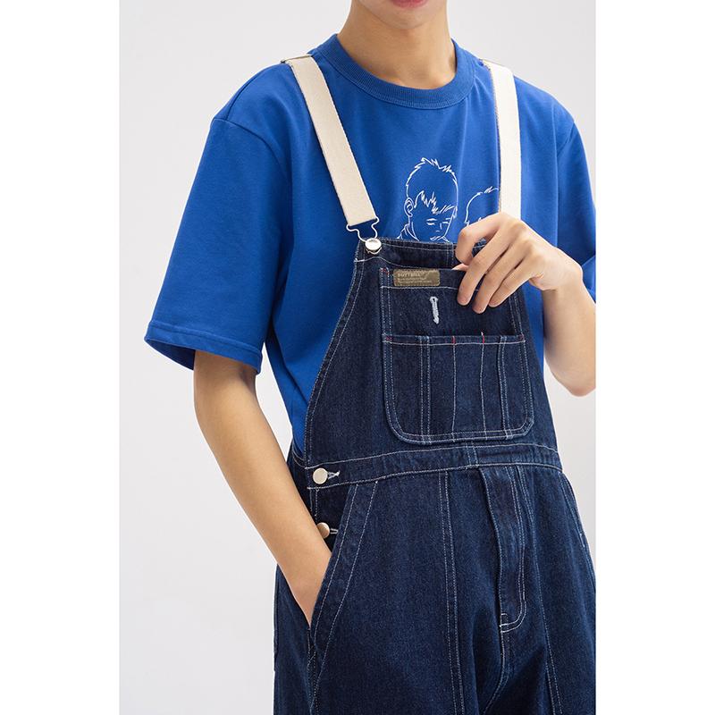BUTTBILL 19SS水洗做旧可调节背带宽松牛仔裤工装古着阔腿连体裤