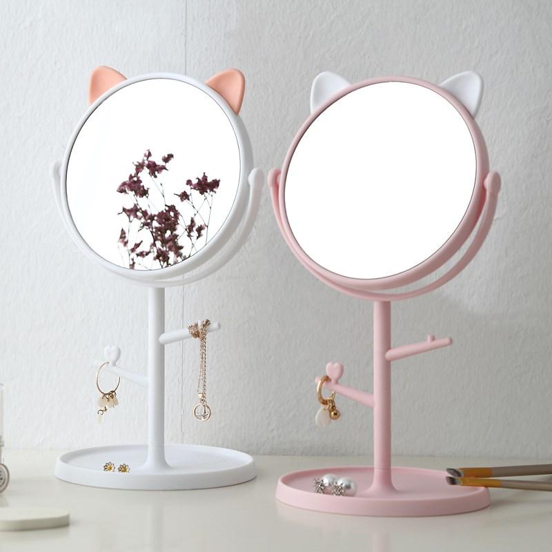 旋转可爱支架化妆镜台式创意可桌面公主美妆镜随身宿舍梳妆小镜子