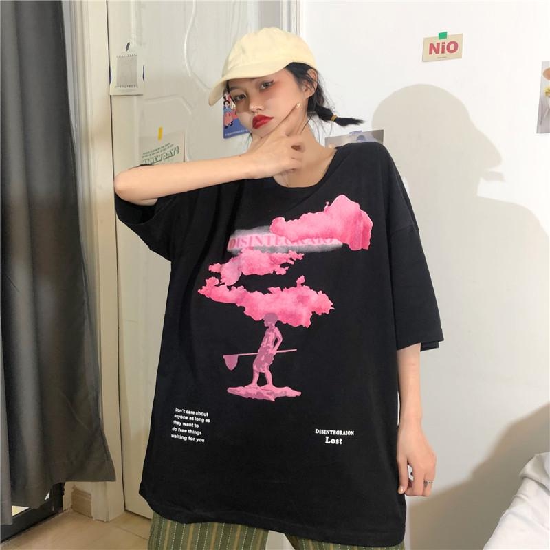 952#    实拍    宽松短袖T恤女(6535拉架) -
