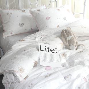 卡通双层纱婴儿级面料裸睡床上用品全棉透气流苏四件套纯棉公主风