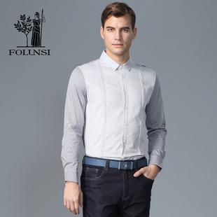 佛伦斯男装 FOLUNSI2017春夏新款  针梭织拼接长袖T恤