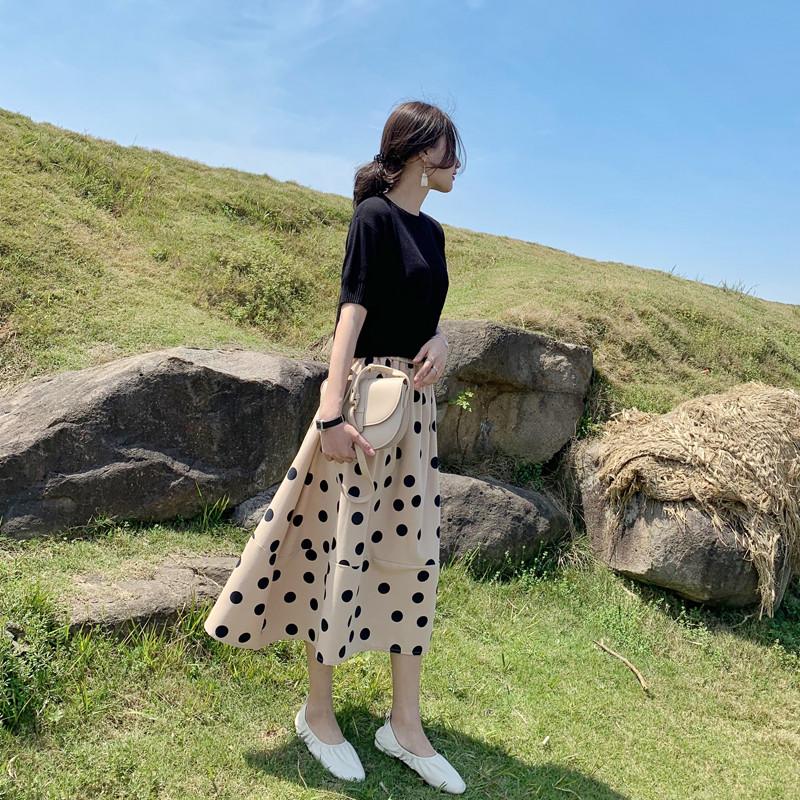 2019春夏季新款时尚复古波点长裙+短袖T恤两件套休闲连衣裙套装女