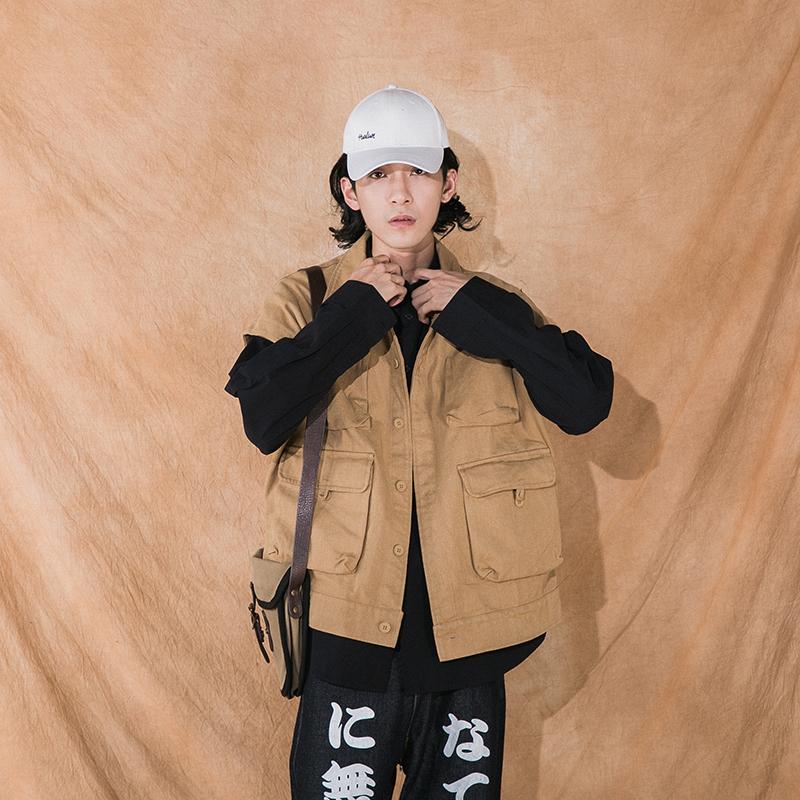 OCT秋季工装风多口袋无袖背心男士纯色百搭马甲宽松夹克牛仔外套