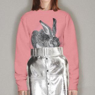 CLOOOUDS新款圆领粉色卫衣丢勒野兔刺绣纯棉重磅2019秋冬款情侣女