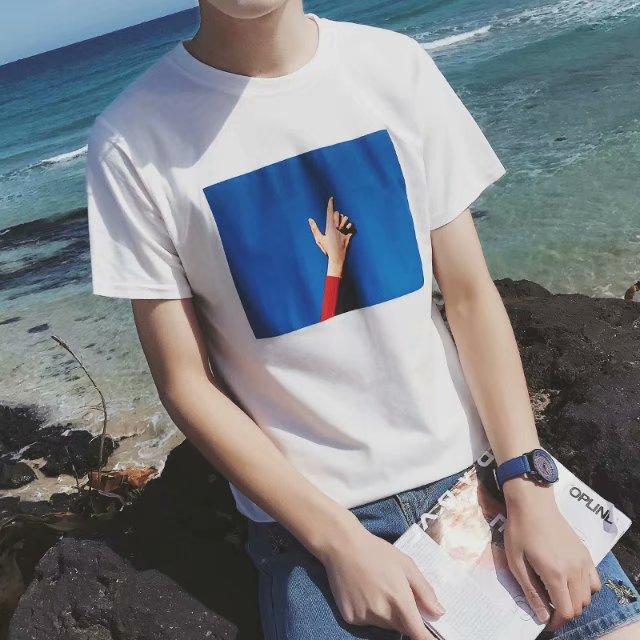 2019夏季男士T恤短袖圆领纯棉体恤宽松半袖日系9.9元特价打底衫