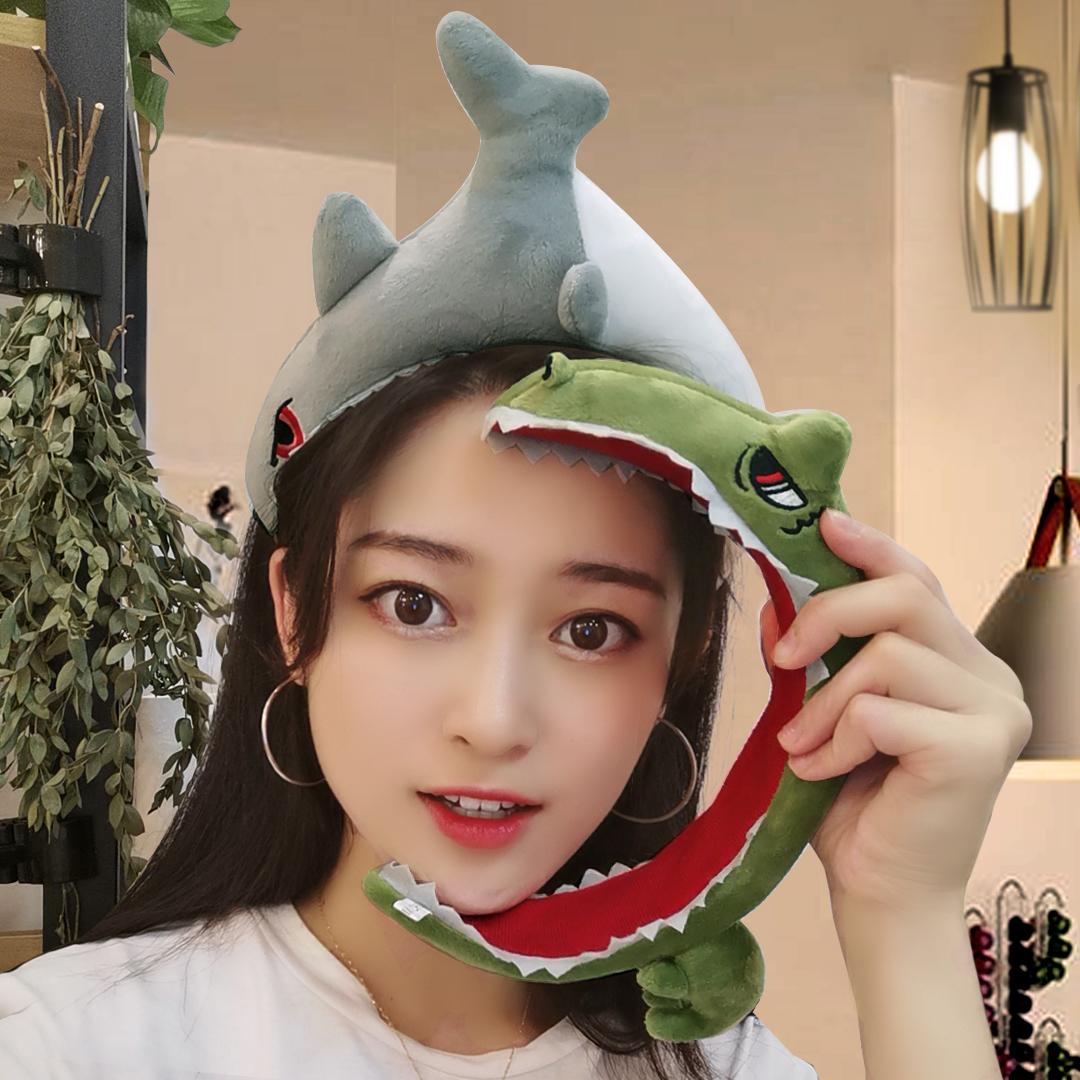 海绵宽边压发洗脸发箍女网红可爱头箍卡通搞怪鲨鱼恐龙发卡子发带