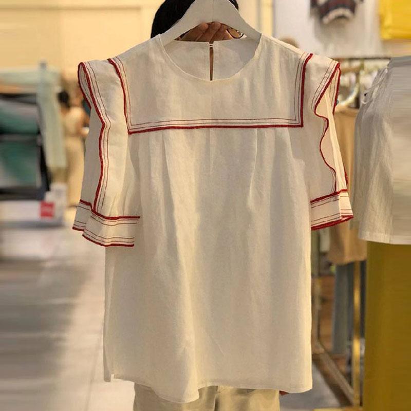 点击查看商品:韩国东大门2020夏季新款荷叶边短袖衬衫女甜美宽松洋气衬衣上衣潮