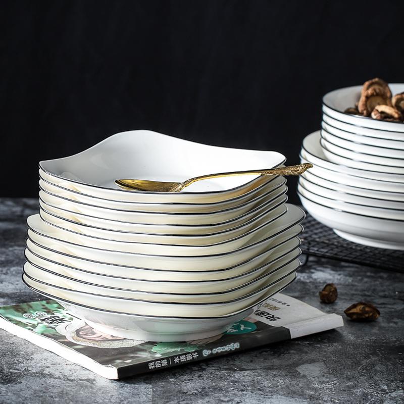 盘子套装组合菜盘家用ins餐盘创意西餐牛排陶瓷碟子北欧餐具日式