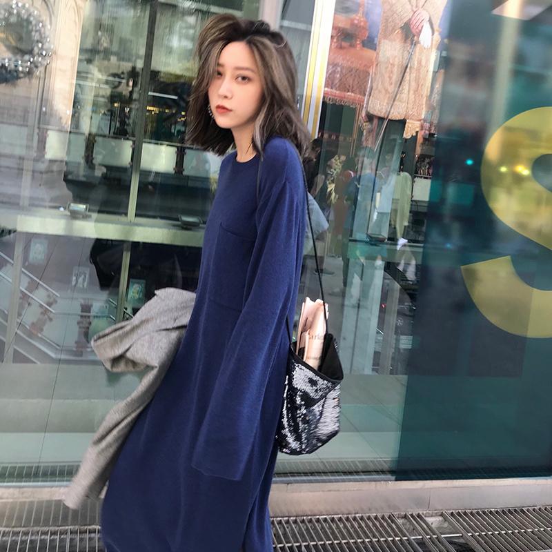 Sukii SR/2018春 单边立体口袋设计圆领针织连身裙