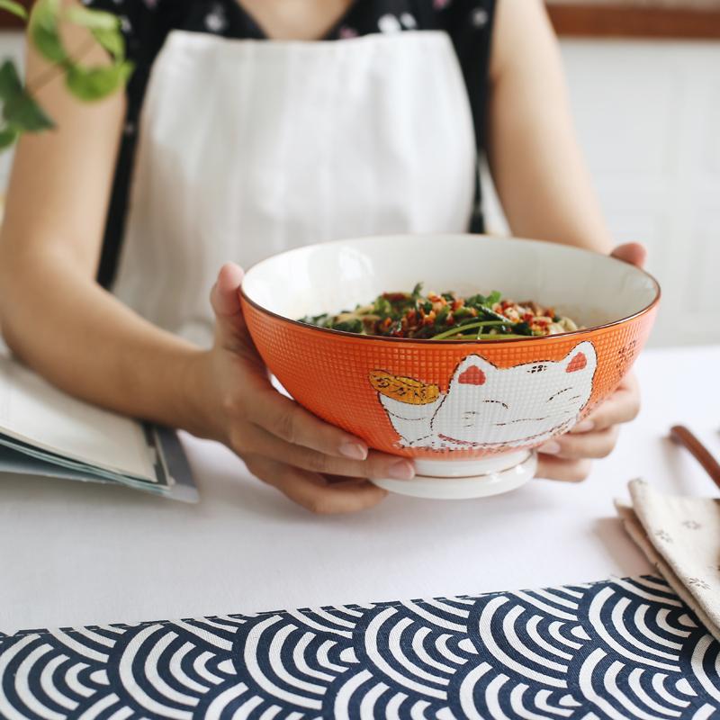 日式釉下彩手绘招财猫陶瓷创意面碗汤碗大号沙拉碗家用饭碗拉面碗