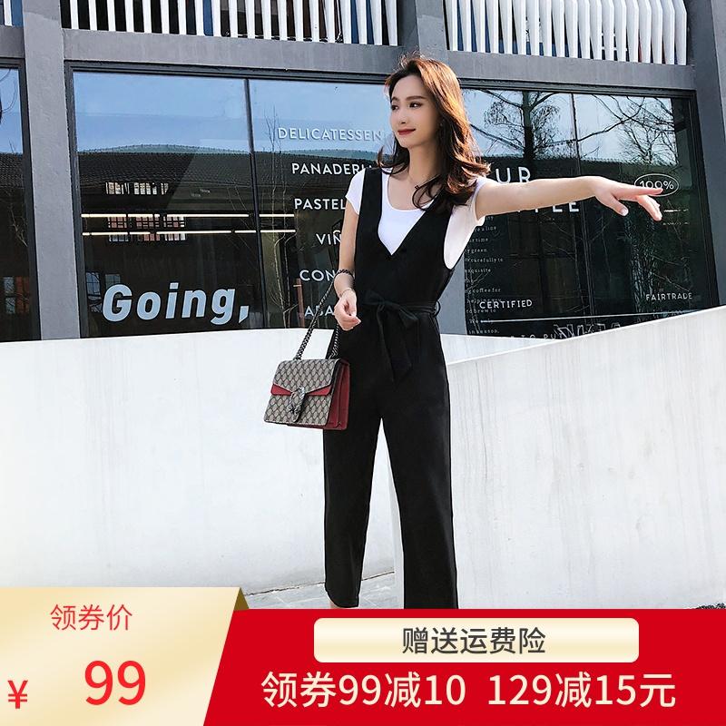 背带裤女2019秋季新款韩版修身九分直筒休闲裤显瘦高腰连体裤女夏