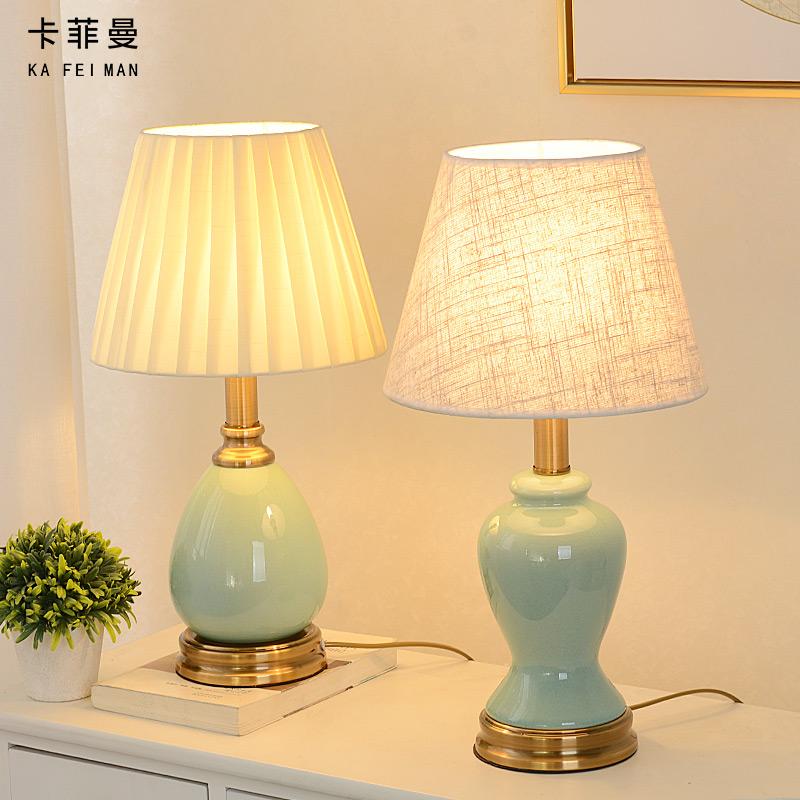 美式简约陶瓷台灯卧室床头灯浪漫温馨结婚个性创意客厅书房装饰