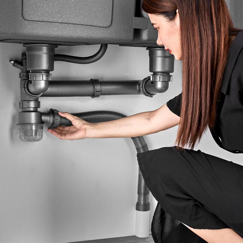 厨房水槽双洗菜盆下水管配件洗碗池不锈钢下水器套装单双槽排水管
