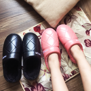 Winter couple cotton slippers women PU leather waterproof thick bottom home home indoor non-slip warm hair fur month slippers men