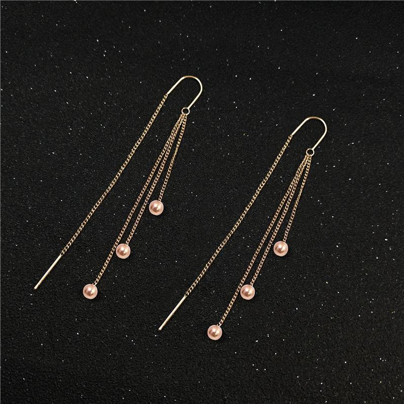 日韩新款玫瑰金耳线钛钢女长款流苏耳饰时尚个性简约耳坠耳挂耳环