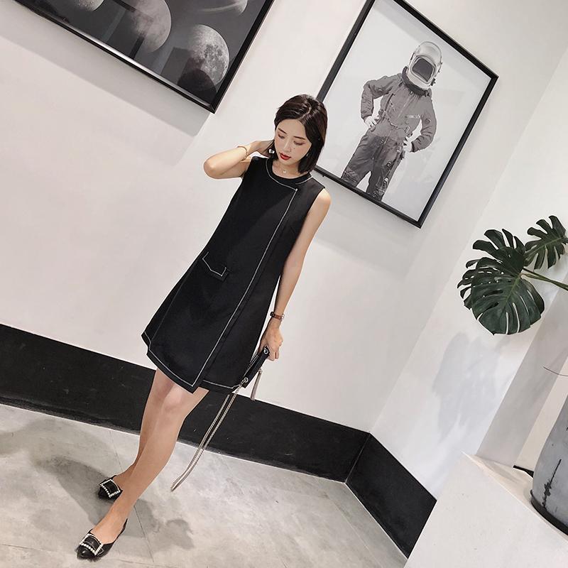 ◆杨沫沫◆黑色连衣裙女2018新款拼接显瘦a字裙不规则无袖小黑裙