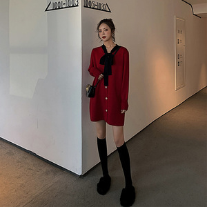 New Year's dress, natal year, women's sweater, temperament, festive clothes, red dress, autumn and winter