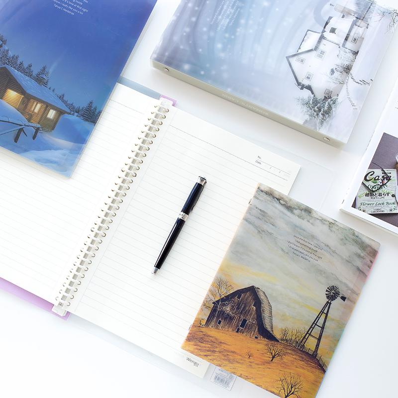 文谷B5/A4 60页活页线圈本小清新笔记本学生日记本记事本手账本子
