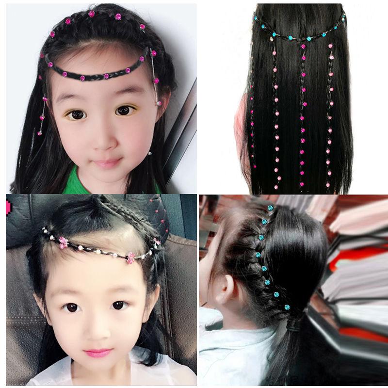 编头发的钻石发绳带钻闪链头发编钻接钻儿童额头链编发彩绳彩辫子