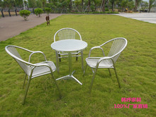 庭院阳台桌子不锈钢椅子ee8外露天休7g三件套五件套桌椅组合