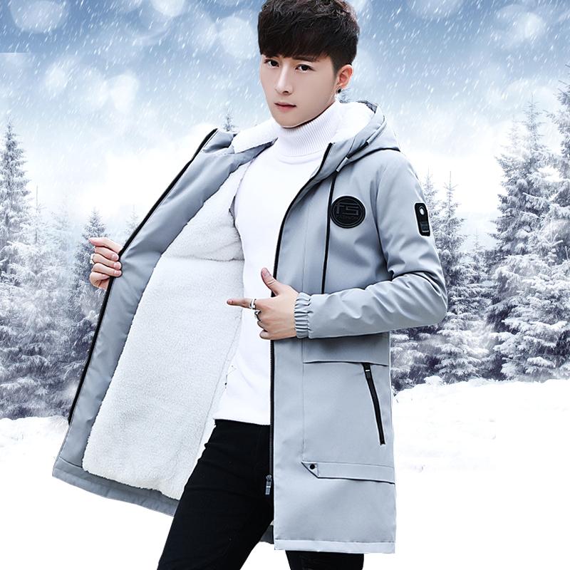 秋冬季加绒加厚外套男士中长款夹克潮流男装衣服韩版修身冬装风衣