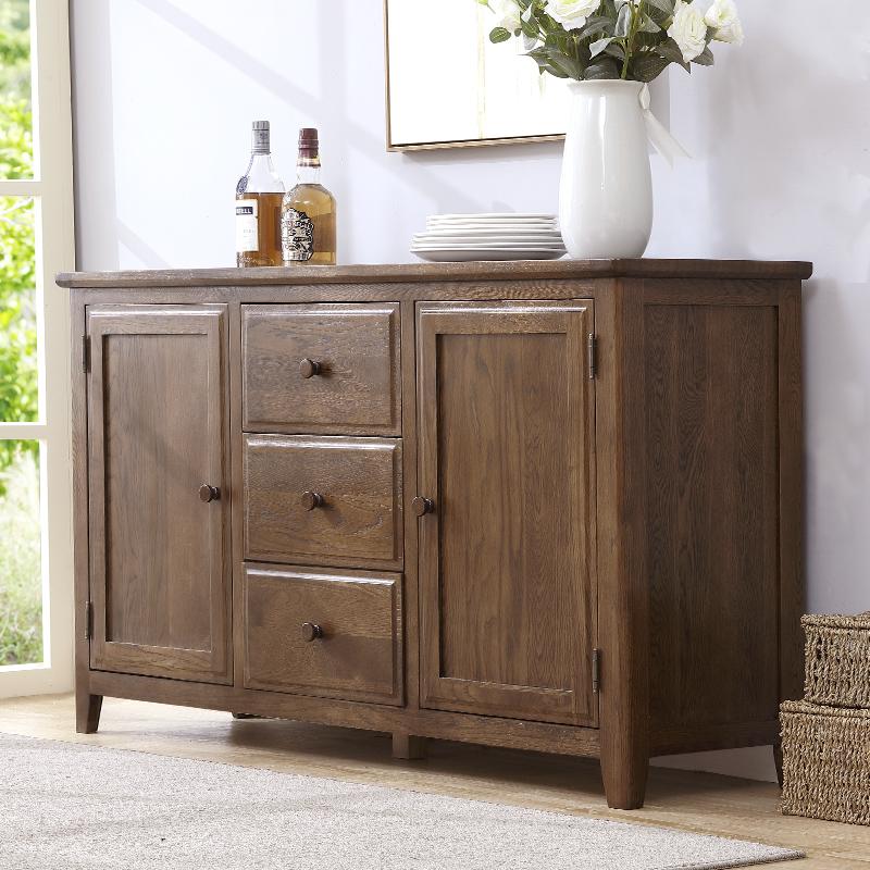 实木餐边柜碗柜酒柜茶水柜全实木  美式餐厅柜收纳柜碗橱