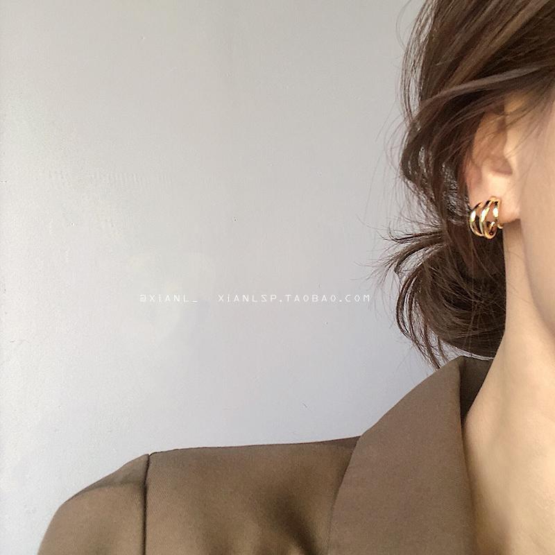 韩国气质耳钉2019新款潮耳环女网红简约冷淡风高级感法式复古耳饰图片