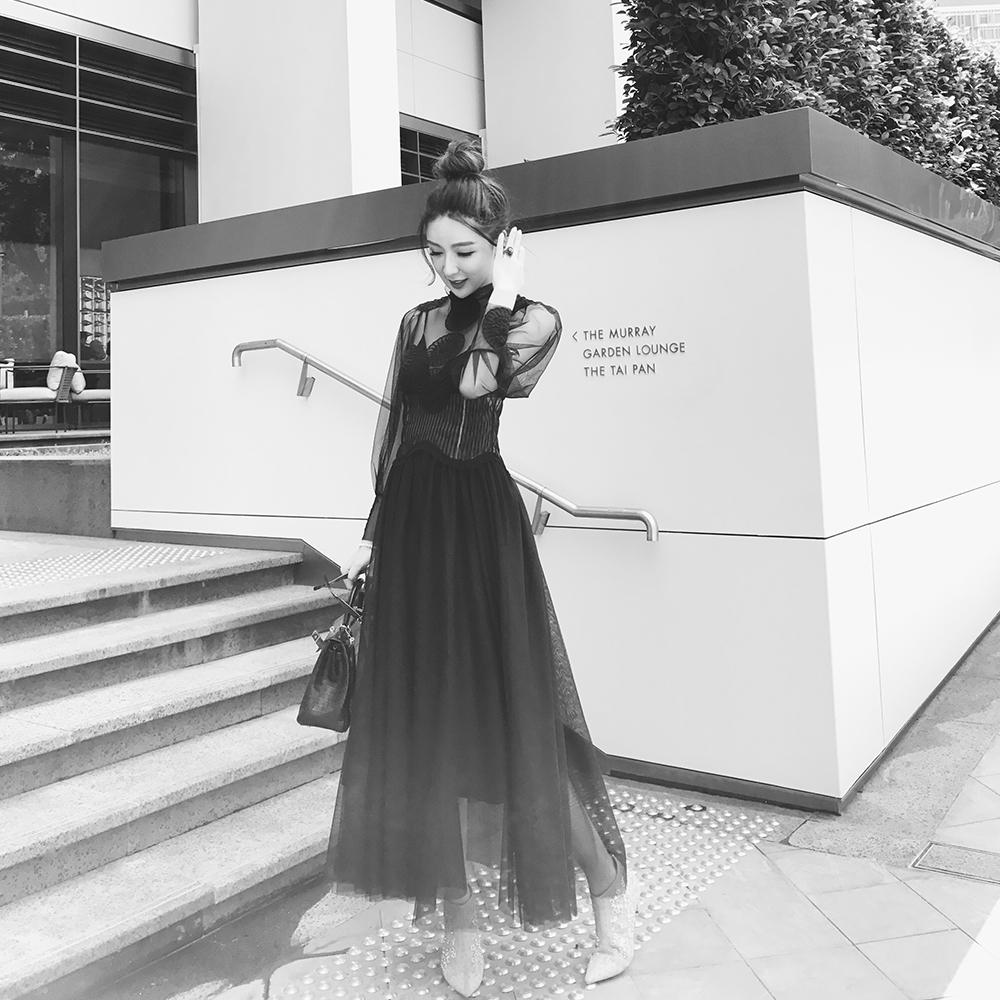 ALUONLINESHOP 高定宫殿风黑色网纱透视连衣裙女超仙礼服裙长裙子