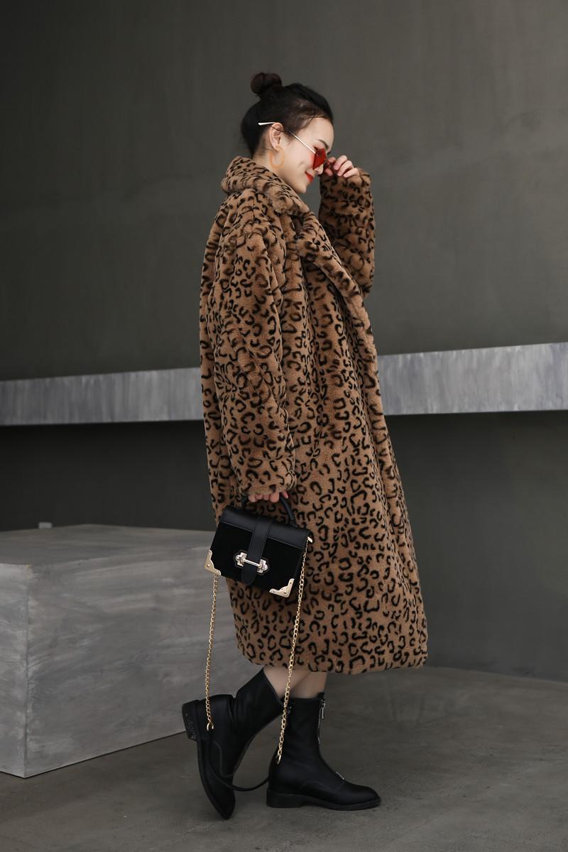 新款豹纹大廓形西服领皮草大衣休闲泰迪仿兔毛绒加厚保暖外套欧美