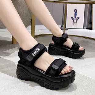 凉鞋2020年新款女百搭仙女风高跟罗马鞋夏季松糕运动坡跟厚底鞋女图片