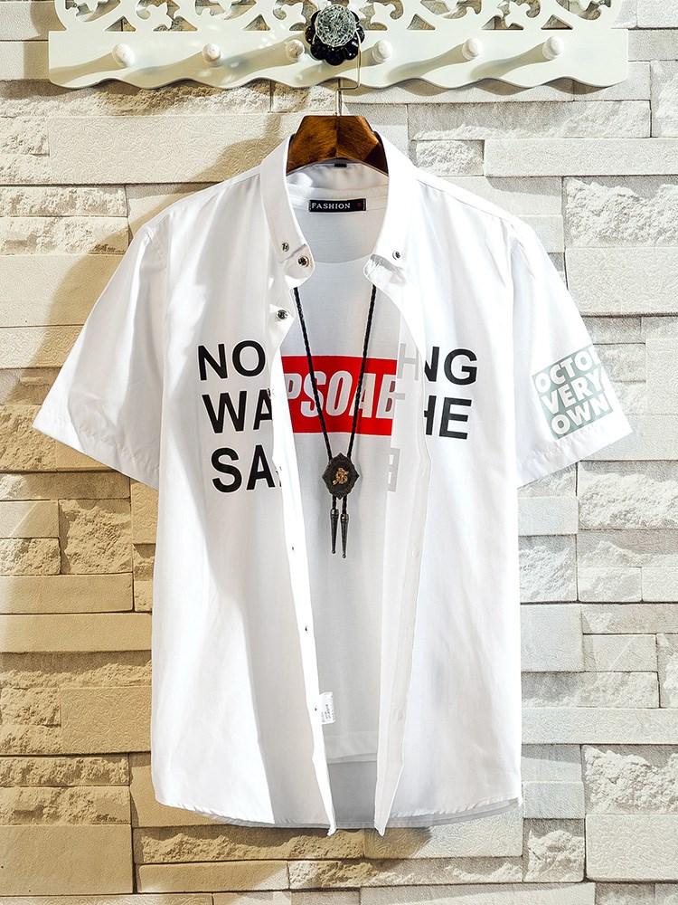 短袖衬衫男夏季韩版修身学生潮流休闲半袖寸衫帅气青少年男士衬衣