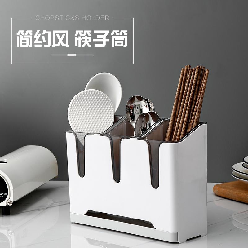 厨房分格筷子篓 沥水快子笼置物筒家用餐具塑料筷子勺子收纳盒BRJ