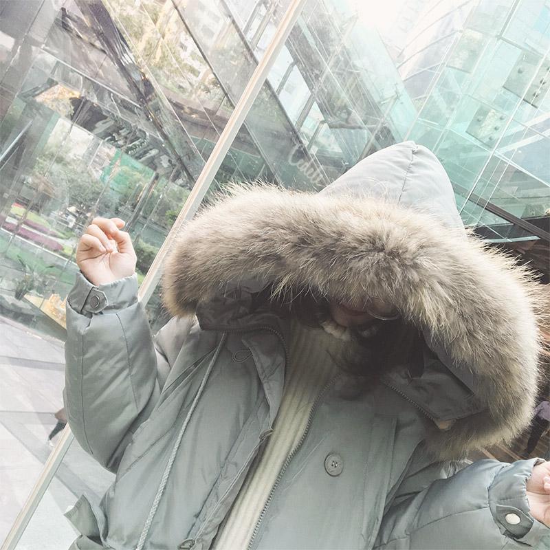 林诗琦 2017新款冬季大毛领中长款棉服学生棉衣棉袄女加厚外套潮