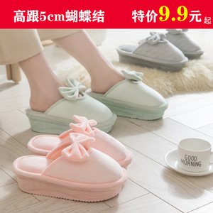 High-heeled cotton slippers female winter bag with cute indoor household thick bottom plush home month plus velvet cotton shoes winter