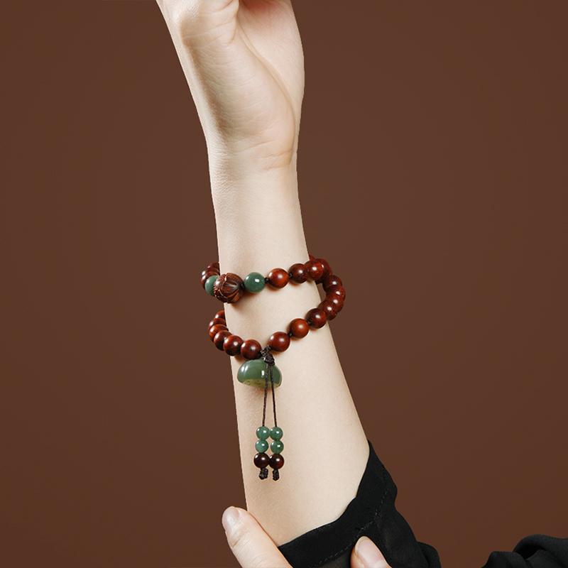 [¥232.25]阿蕾家 印度小叶紫檀手串女 女款带金星佛珠 古风檀木原创手链p98