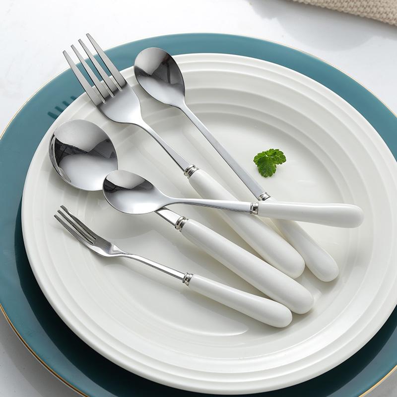 陶瓷柄勺子不锈钢家用创意汤匙可爱长柄咖啡勺网红韩式吃饭小调羹
