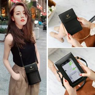 新款女士大屏可触屏手机包挂脖手机袋斜挎迷你链条小包钥匙零钱包