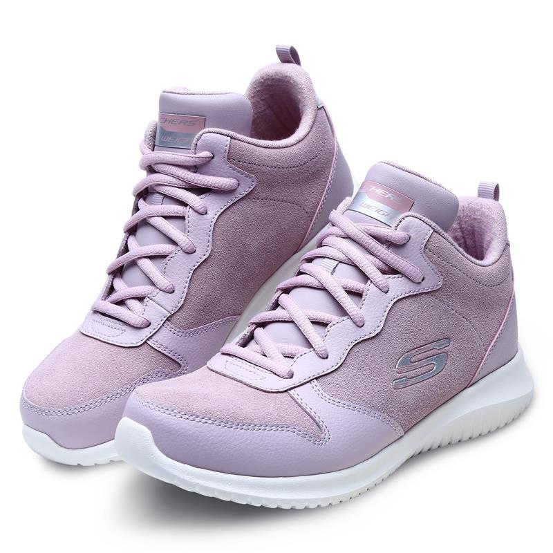 skechers斯凯奇女鞋翻毛皮休闲鞋粉色厚底健步鞋轻质板鞋66666072
