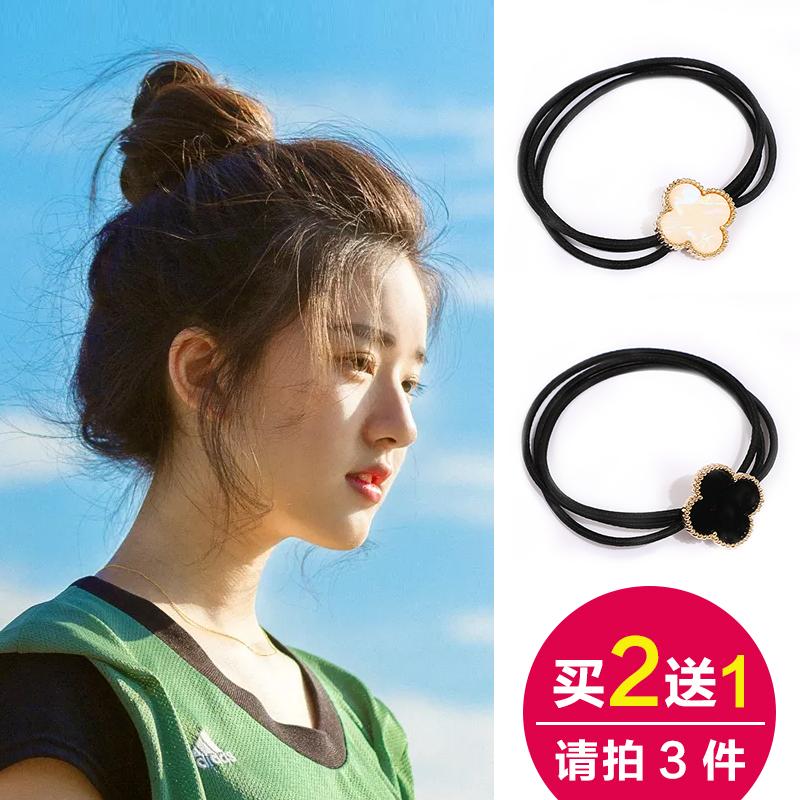 发圈韩国可爱森女系网红橡皮筋小清新成人头绳黑色简约四叶草发绳