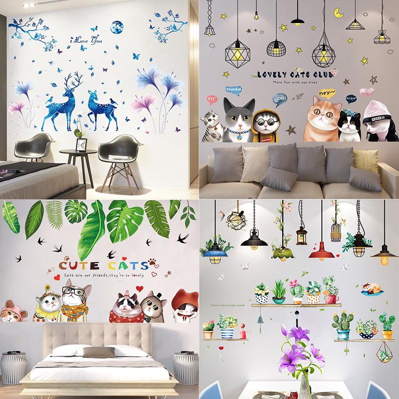 3D立体墙纸自粘温馨卧室贴纸墙壁装饰创意个性房间背景墙画墙贴画